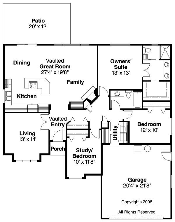 Traditional Floor Plan - Main Floor Plan Plan #124-376