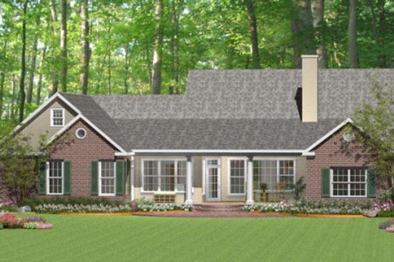 Southern Exterior - Rear Elevation Plan #406-9618 - Houseplans.com