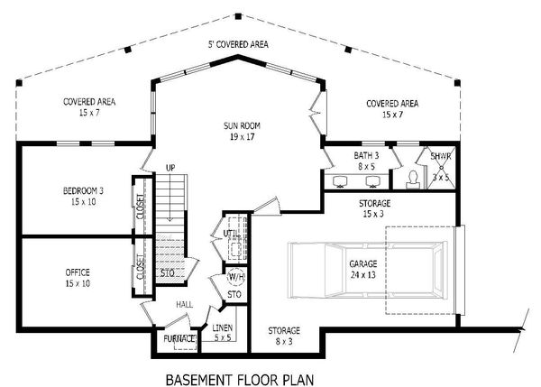 Adobe / Southwestern Floor Plan - Lower Floor Plan Plan #932-119