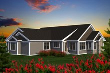 Dream House Plan - Ranch Exterior - Rear Elevation Plan #70-1202