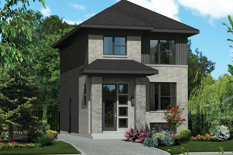 Contemporary Style House Plan - 3 Beds 1 Baths 1369 Sq/Ft Plan #25-4319 Exterior - Front Elevation