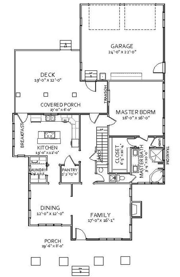 Craftsman Floor Plan - Main Floor Plan Plan #898-5