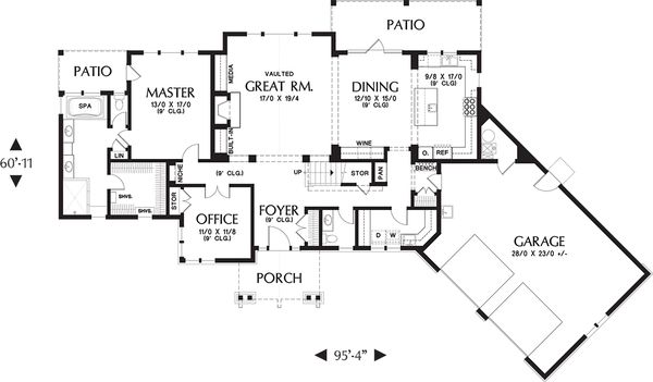 Craftsman Floor Plan - Main Floor Plan Plan #48-655