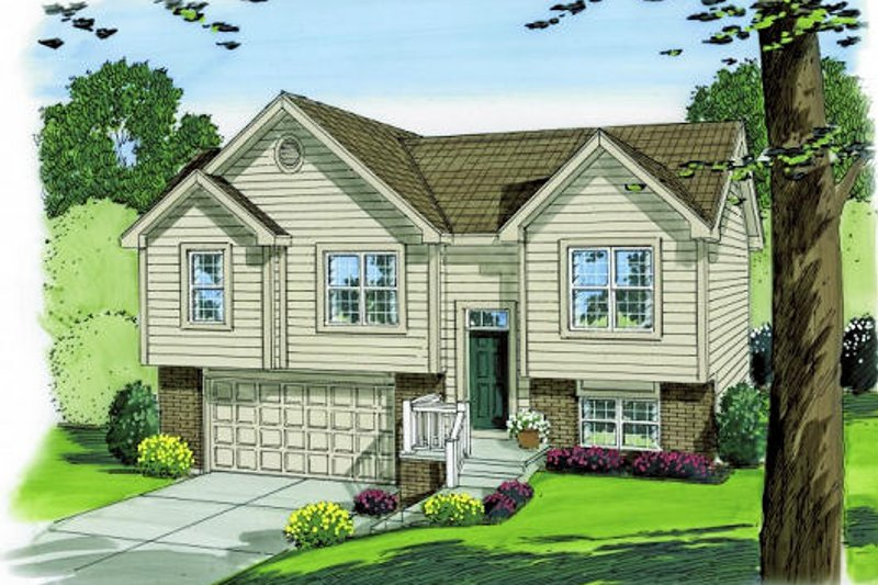 Traditional Style House Plan - 3 Beds 2 Baths 1096 Sq/Ft Plan #455-145 Exterior - Front Elevation