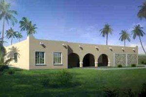 Adobe / Southwestern Exterior - Front Elevation Plan #1-1336
