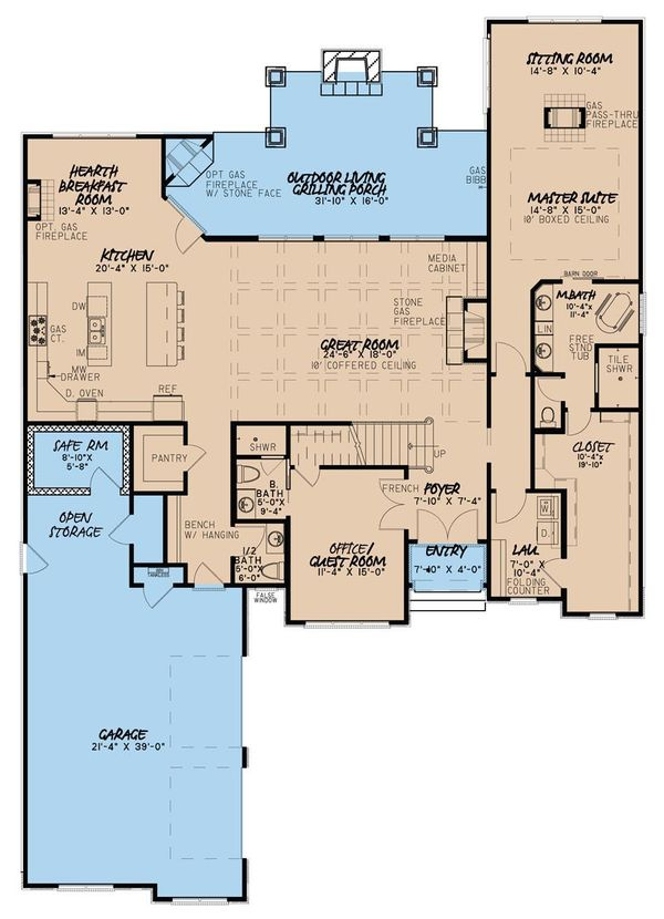 European Floor Plan - Main Floor Plan Plan #923-31