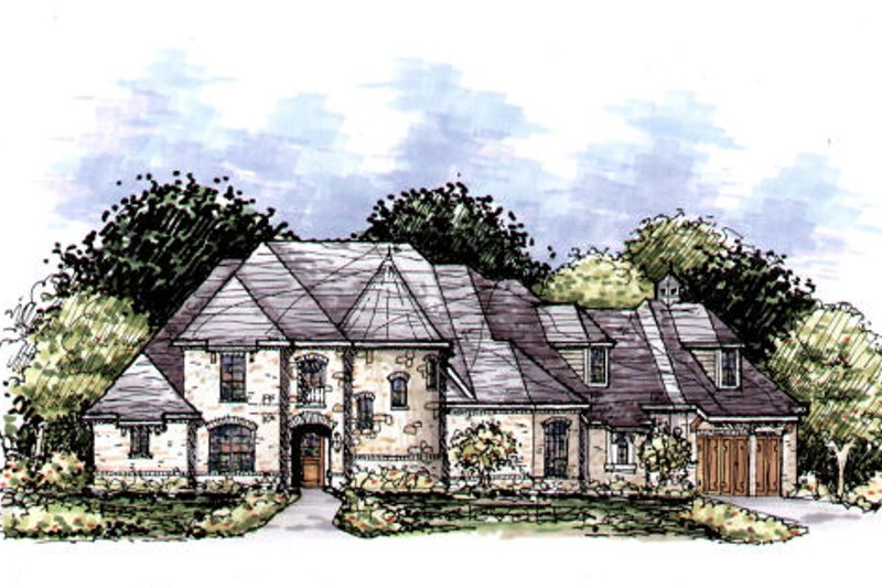 European Style House Plan - 4 Beds 4.5 Baths 3998 Sq/Ft Plan #141-333 Exterior - Front Elevation