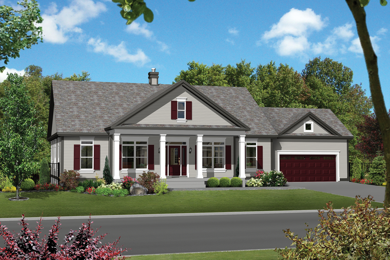 Country Style House Plan - 4 Beds 2 Baths 1896 Sq/Ft Plan #25-4542 Exterior - Front Elevation