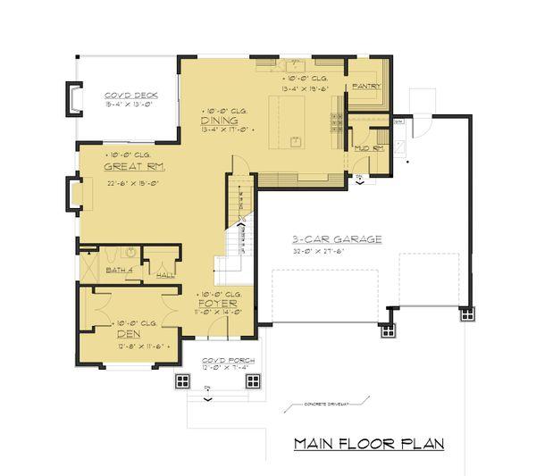 Contemporary Floor Plan - Main Floor Plan Plan #1066-63