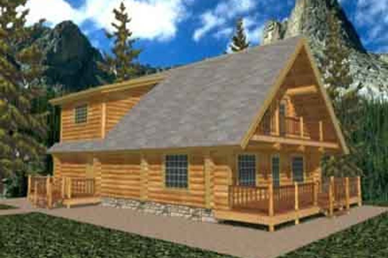 Log Exterior - Front Elevation Plan #117-106