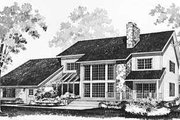 Southern Style House Plan - 3 Beds 3.5 Baths 4134 Sq/Ft Plan #72-191 Exterior - Rear Elevation