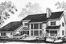 House Blueprint - Southern Exterior - Rear Elevation Plan #72-191