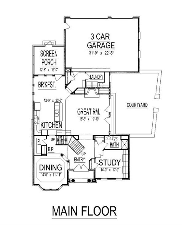 European Floor Plan - Main Floor Plan Plan #458-18