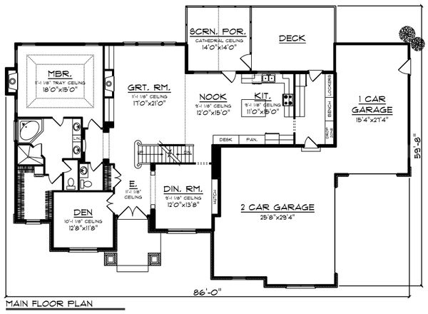 Craftsman Floor Plan - Main Floor Plan Plan #70-1252