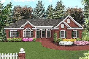 Southern Exterior - Front Elevation Plan #56-564