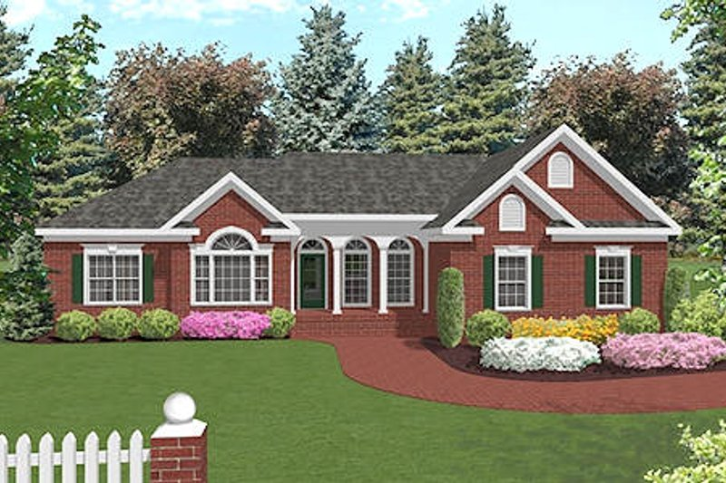 Southern Style House Plan - 3 Beds 2.5 Baths 1992 Sq/Ft Plan #56-564 Exterior - Front Elevation