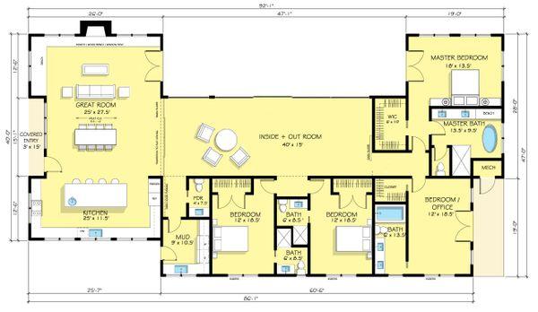 Dream House Plan - Ranch Floor Plan - Main Floor Plan #888-18
