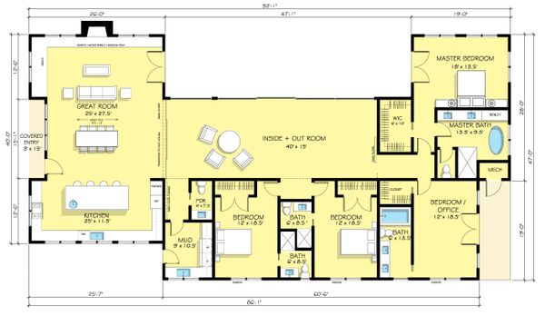 Ranch Floor Plan - Main Floor Plan Plan #888-18