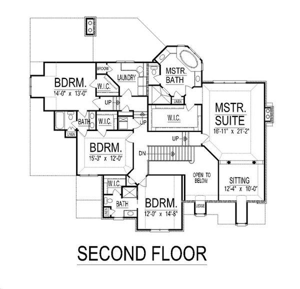 European Floor Plan - Upper Floor Plan #458-19
