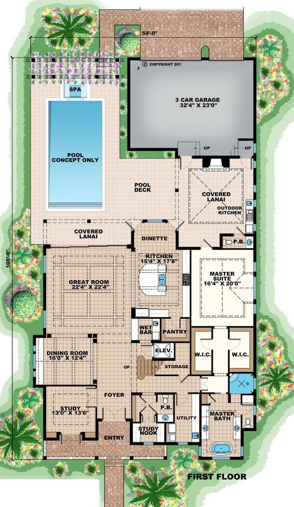 Beach Floor Plan - Main Floor Plan Plan #27-486