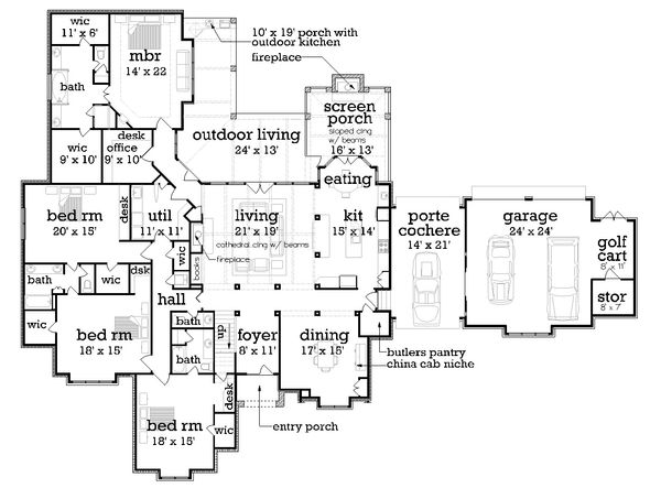 European Floor Plan - Main Floor Plan Plan #45-379