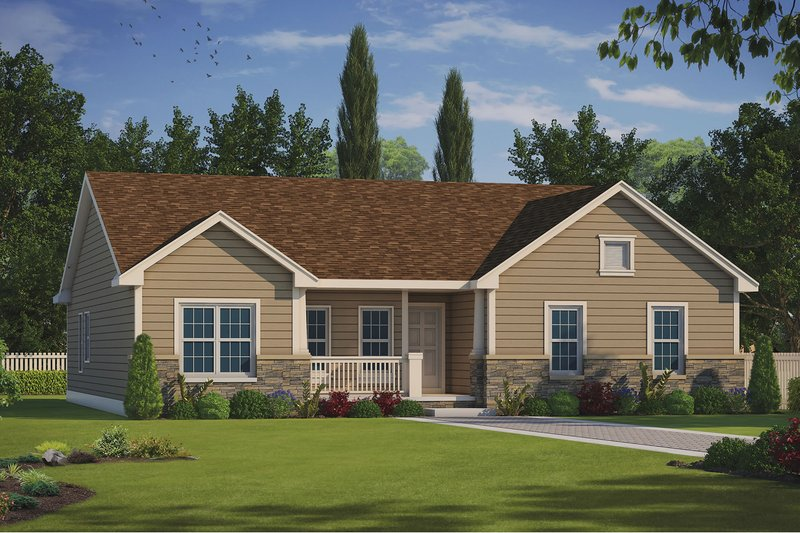 Ranch Style House Plan - 3 Beds 2.5 Baths 1722 Sq/Ft Plan #20-2291
