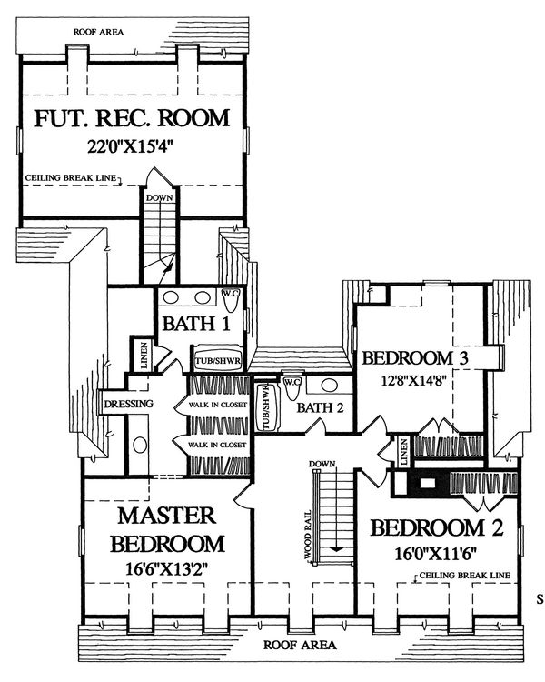 3000 square foot colonial house plan with 3 bedrooms and 2 baths