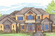 European Style House Plan - 5 Beds 5.5 Baths 7271 Sq/Ft Plan #135-162 Exterior - Front Elevation