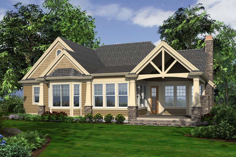 Country Exterior - Rear Elevation Plan #132-204 - Houseplans.com