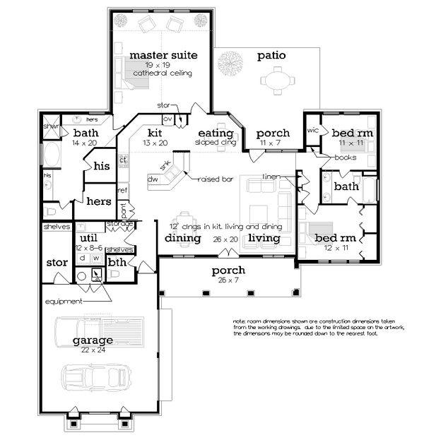House Design - Craftsman Floor Plan - Main Floor Plan #45-586