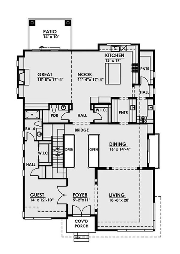 Contemporary Floor Plan - Main Floor Plan Plan #1066-38