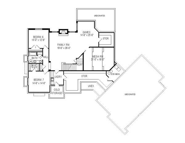 Traditional Floor Plan - Lower Floor Plan Plan #920-81