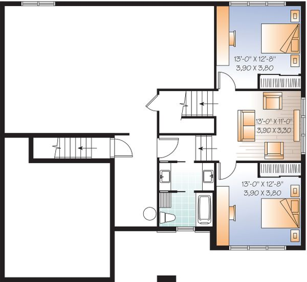 Lower floor Plan - 3200 square foot Modern Home