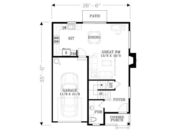 Craftsman Floor Plan - Main Floor Plan Plan #53-560