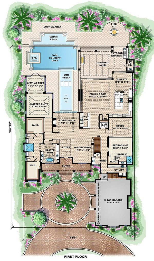 Beach Floor Plan - Main Floor Plan Plan #27-462