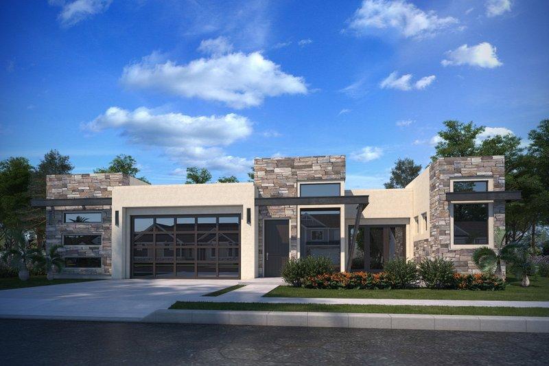 Architectural House Design - Adobe / Southwestern Exterior - Front Elevation Plan #1073-26