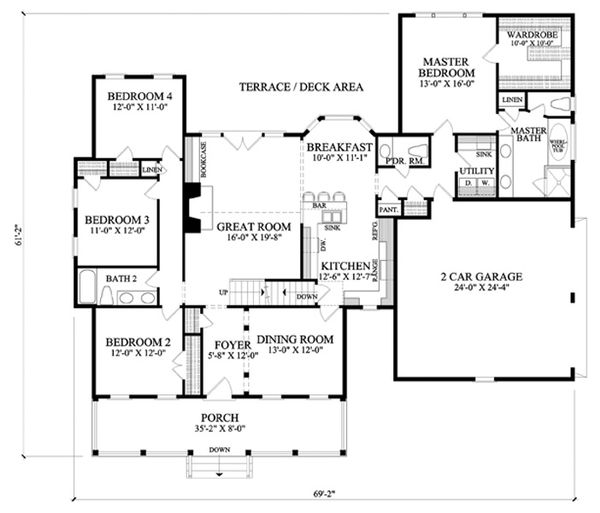 Farmhouse Floor Plan - Main Floor Plan Plan #137-266