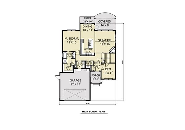 Craftsman Floor Plan - Main Floor Plan Plan #1070-78