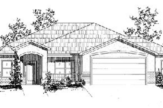 Adobe / Southwestern Exterior - Front Elevation Plan #24-138