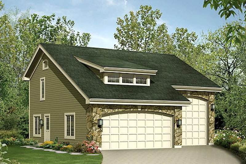 Cottage Style House Plan - 1 Beds 1.5 Baths 713 Sq/Ft Plan #57-390