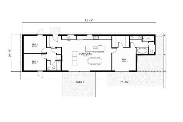 Modern Style House Plan - 3 Beds 2 Baths 1356 Sq/Ft Plan #497-57 Floor Plan - Main Floor Plan