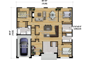 Contemporary Style House Plan - 3 Beds 2 Baths 1963 Sq/Ft Plan #25-4908