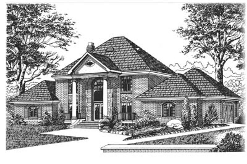 Traditional Style House Plan - 4 Beds 4 Baths 3305 Sq/Ft Plan #15-219 Exterior - Front Elevation