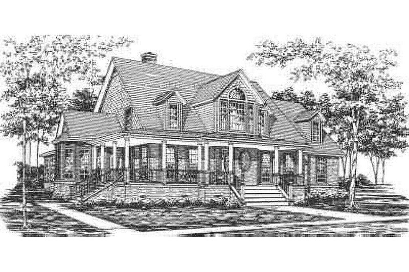 Country Style House Plan - 4 Beds 3 Baths 3100 Sq/Ft Plan #30-187 Exterior - Front Elevation