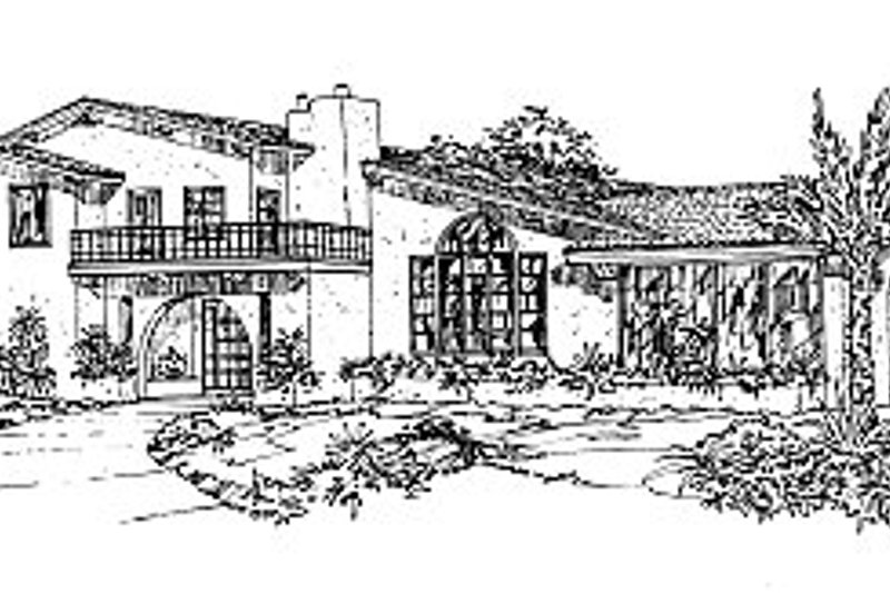 Mediterranean Style House Plan - 3 Beds 2.5 Baths 1974 Sq/Ft Plan #12-209 Exterior - Front Elevation