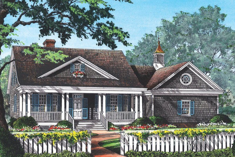 Country Style House Plan - 3 Beds 2 Baths 1973 Sq/Ft Plan #137-154 Exterior - Front Elevation