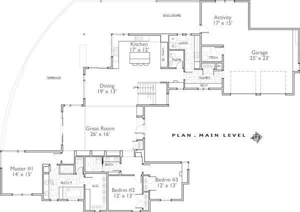 Contemporary Floor Plan - Main Floor Plan Plan #892-10