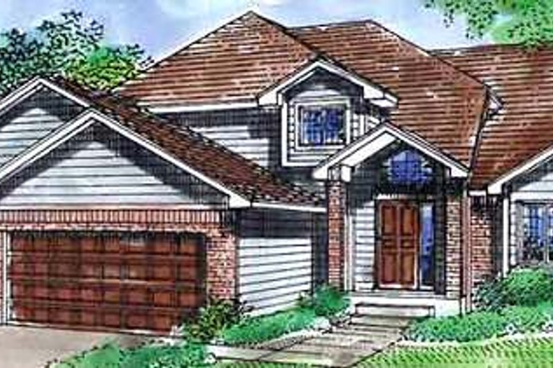 Traditional Style House Plan - 3 Beds 3 Baths 2164 Sq/Ft Plan #320-394 Exterior - Front Elevation