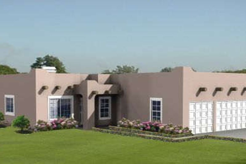 Adobe / Southwestern Style House Plan - 4 Beds 2 Baths 1994 Sq/Ft Plan #1-860 Exterior - Front Elevation