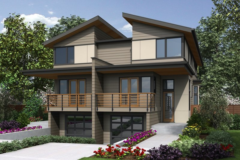 Architectural House Design - Contemporary Exterior - Front Elevation Plan #48-1020